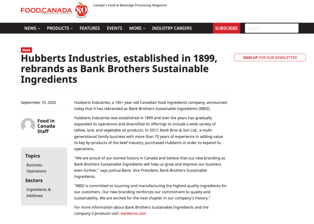 Hubberts Industries, established in 1899, rebrands as Bank Brothers Sustainable Ingredients